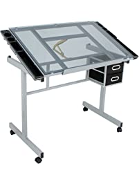 Super Deal Adjustable Drafting Table Drawing Desk Craft Station W/ Drawers,  Silver With Blue