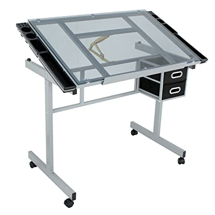ZENY Adjustable Drawing Table Rolling Drafting Desk Tempered Glass Top W/2  Slide Drawers U0026