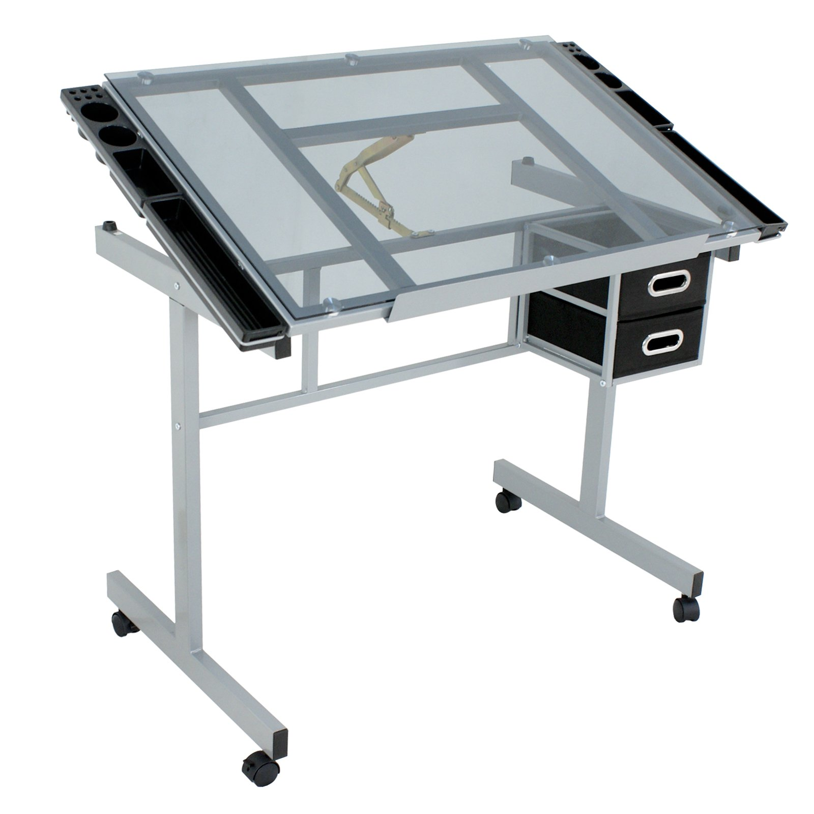 ZENY Adjustable Drawing Table Rolling Drafting Desk Tempered Glass Top W/2 Slide Drawers & Rolling Wheels