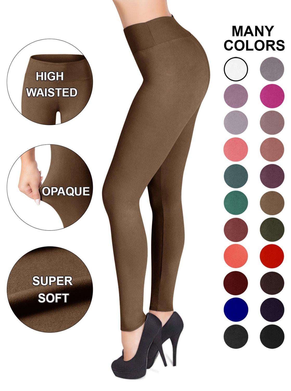 SATINA High Waisted Leggings – 22 Colors – Super Soft Full Length Opaque Slim (Plus Size, Tan)