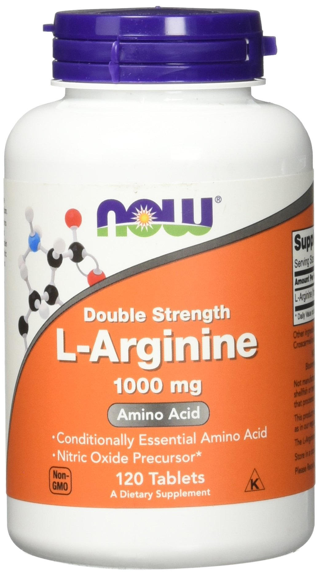 NOW L-Arginine 1000 mg, 120 Tablets