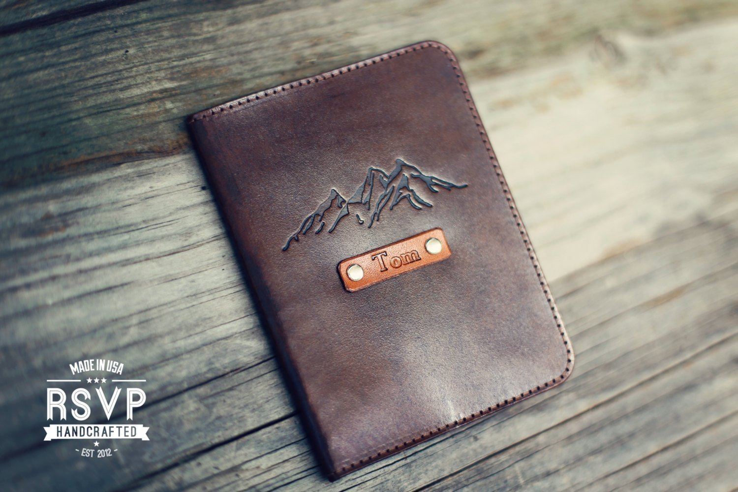 Personalized Leather Passport Cover, Real Leather, holder, wanderlust, travel, Mountains, handmade, Custom text, name initials