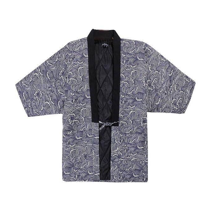Fancy Pumpkin Bata de Hombre Estilo japonés Kimono Pijamas Coat-D