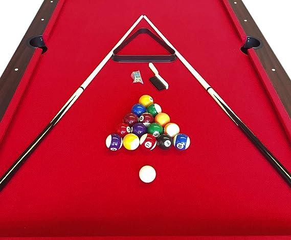 Mesa de billar juegos de billar pool 7 ft Modelo ARES Rojo Medición de 188 x 94 cm carambola con monedero ...