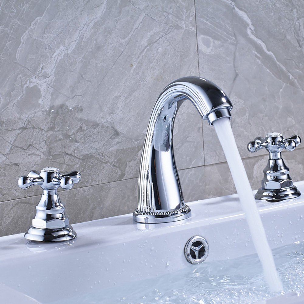 Votamuta Brass Two-Handle Widespread Lavatory Faucet with Drain ...
