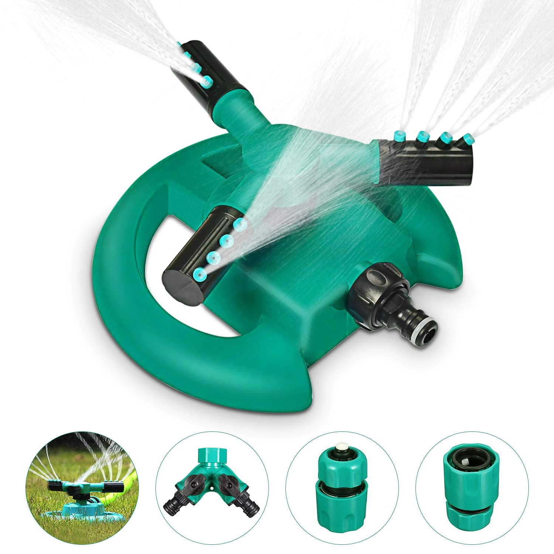 Magicfun Irrigatore Per Giardino,Irrigatore per Prato Automatico 360 Gradi, Sistema Di Irrigazione con 3 Braccia Rotanti,Adatto per Prato, Giardino, Verde e Nero