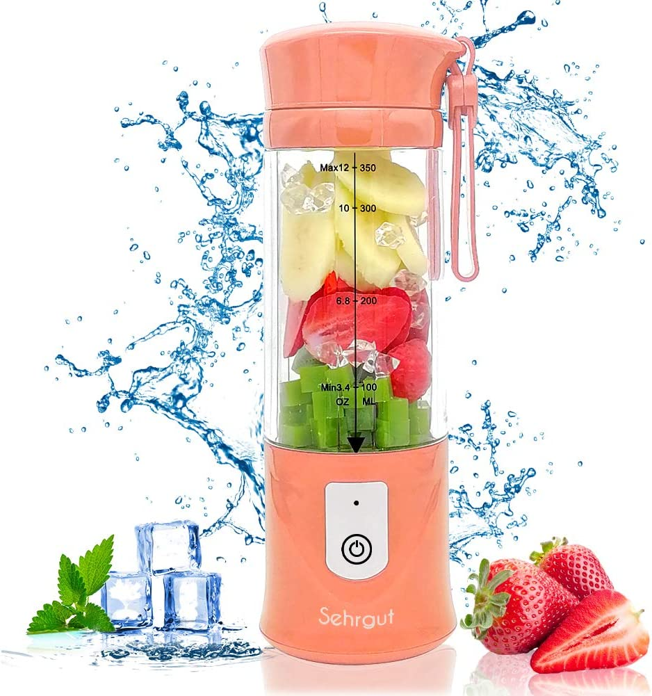 Personal Portable Smoothie Juicer Blender Bottle, includes 4000mAh 7.4V Batteries,126 Watts 12oz USB Shakes Blender Gym, Travel & Home, Pink