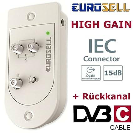 Eurosell – PREMIUM Cable Televisión por cable CATV Cable Televisión profesional Dos dispositivo Amplificador + Canal