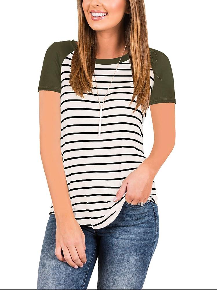 050051c305661c Women's 3/4 Sleeve Raglan Striped T Shirt Baseball Tunic Tops Blouse