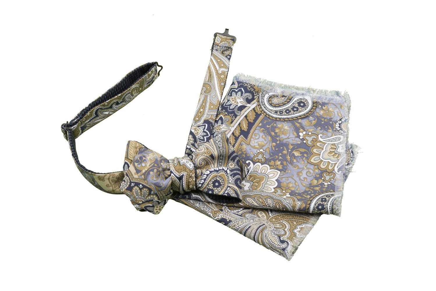 Bow Tie, Self Tie, Double Sided, Reversible, Pocket Square, Set, Men, Boy, Adjustable, Hook, Silk, Wool, Blue, Beige, Floral Print, Brown, One Size, Made In Italy, Handmade by Old Fashion Sartoria, Florence, Italy