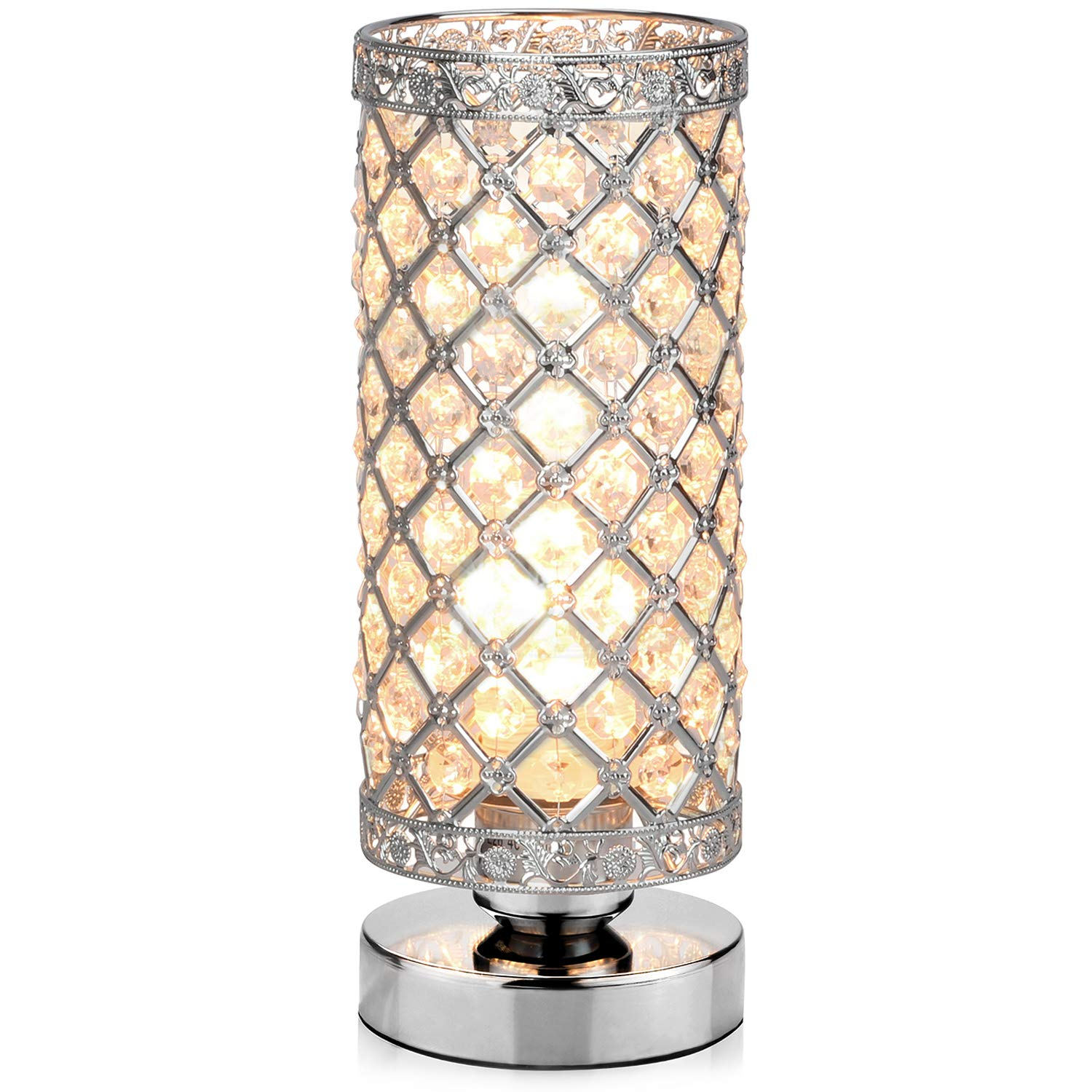 Table Lamp, Petronius Crystal Table Lamps, Decorative Bedside Nightstand Desk Lamp Shade for Bedroom, Living Room, Dining Room, Kitchen