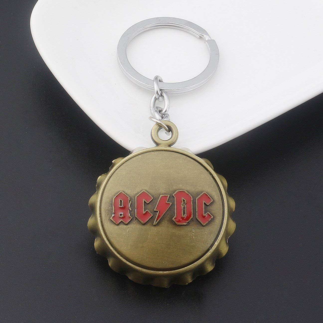 Key Buckle Acdc inglese lettera apribottiglie ciondolo portachiavi catena bronzo dorato
