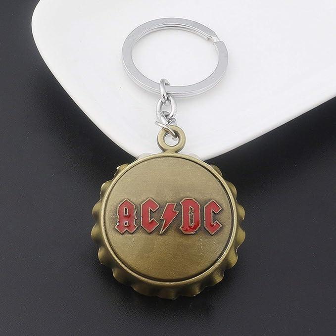 Hebilla dominante Acdc Carta inglesa Abrebotellas Colgante Llavero Cadena bronce de oro