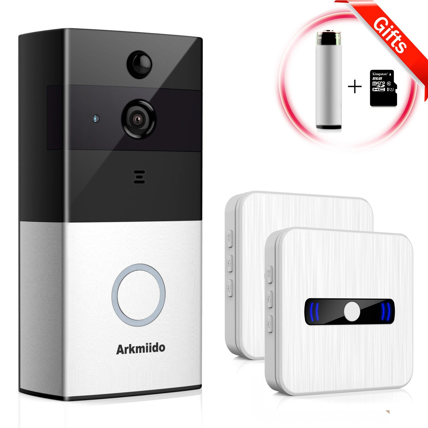 Arkmiido WiFi Wireless Enabled Video Doorbell Camera [ 1 Battery Activatable ] + 2 Plug Waterproof Chime Indoor Receiver by Arkmiido