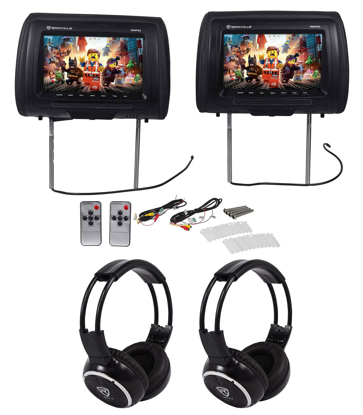 Pair Rockville RHP91-BK v2 9'' Black Car Headrest Monitors w/Speakers+Headphones by Rockville