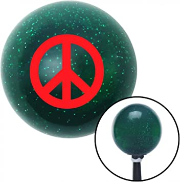 American Shifter 66362 Green Metal Flake Shift Knob with 16mm x 1.5 Insert Red Peace Sign