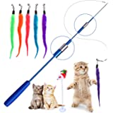Retractable Cat Toys Wand with 5 Piece Teaser Refills, Interactive Cat Feather Toy for Cat Kitten Having Fun Exerciser…