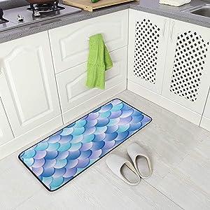 BLSYP Kitchen Rugs Runner Purple Blue Color Mermaid Fish Scale Comfort Floor Mat Bath Mats Bed Desk Bathroom Area Rug Long Doormat Carpet Home Hotel