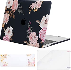 MOSISO MacBook Pro 13 inch Case 2019 2018 2017 2016 Release A2159 A1989 A1706 A1708, Plastic Peony Hard Shell Case&Keyboard Cover&Screen Protector Compatible with MacBook Pro 13 inch, Black