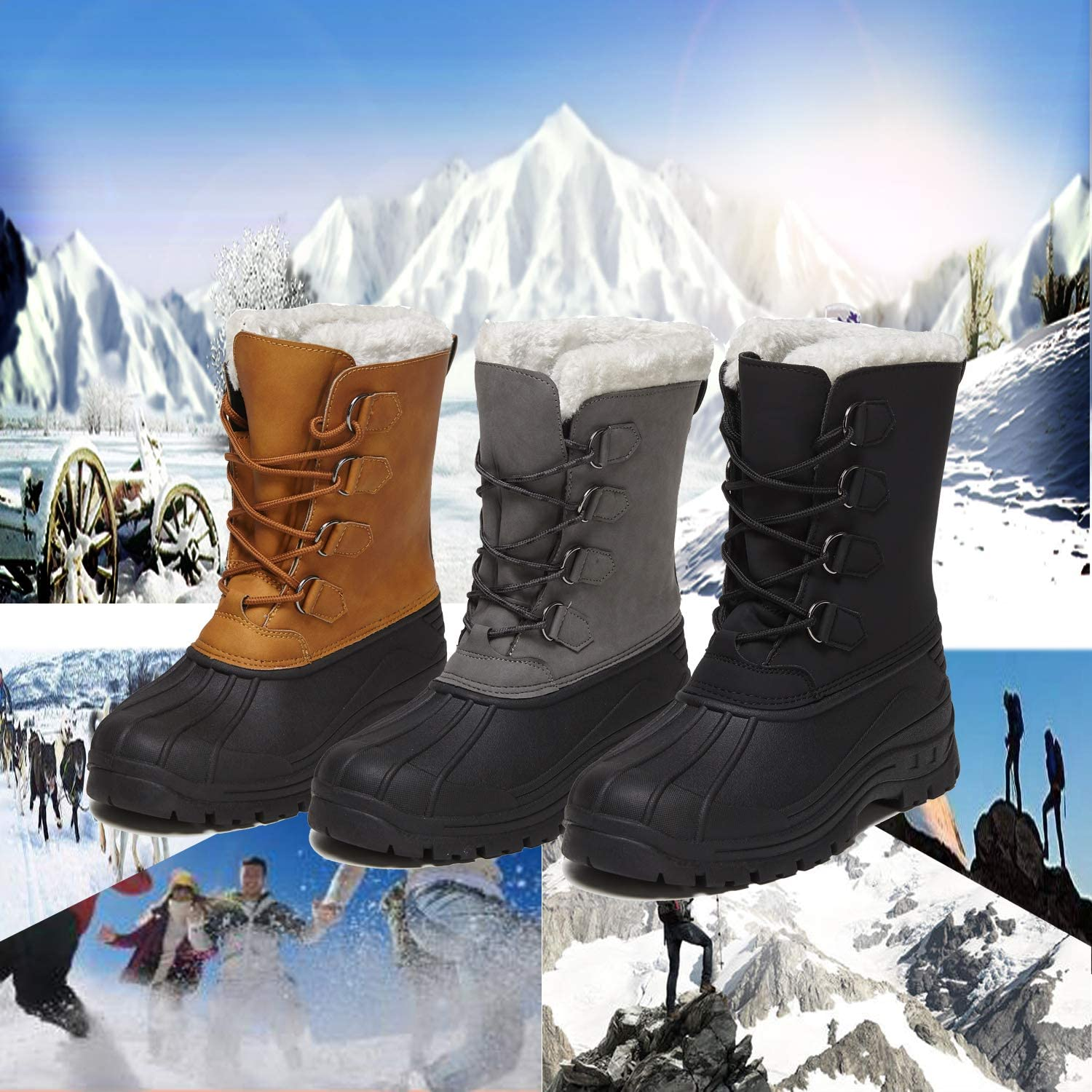 Owarrla Winter Snow Boots Waterproof Mens Anti-Slip Warm Fur Winter Boots Lace-up Shoes for Outdoor Indoor