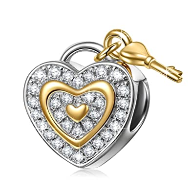 d68e44b7d NinaQueen 925 Sterling Silver Fit Pandora Charms Lock Key Dangle Heart  Shape Beads Birthday Anniversary Valentines