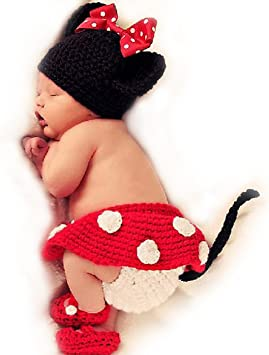 Baby Häkelko Stüm Photos 4-Piece Mickey Minnie Mouse Red Knitted ...