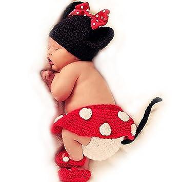 Punto de ganchillo para bebé fotos traje 4 tlg. Mickey Mouse Minnie Mouse rojo: Amazon.es: Juguetes y juegos