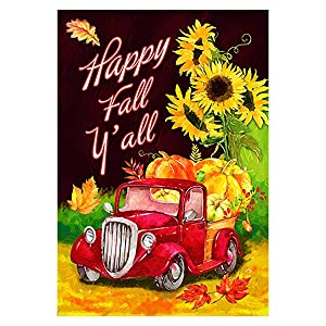 "Morigins Happy Fall Yall Flag Decorative Autumn Red Truck House Flag Double Sided Rustic Harvest Pumpkin Maple Leaf Sunflower Outdoor Flag 12.5""x18"""