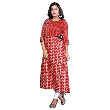 2c8fadcba21 Payal Women s Casual A-Line Red Kurti  Amazon.in  Clothing   Accessories