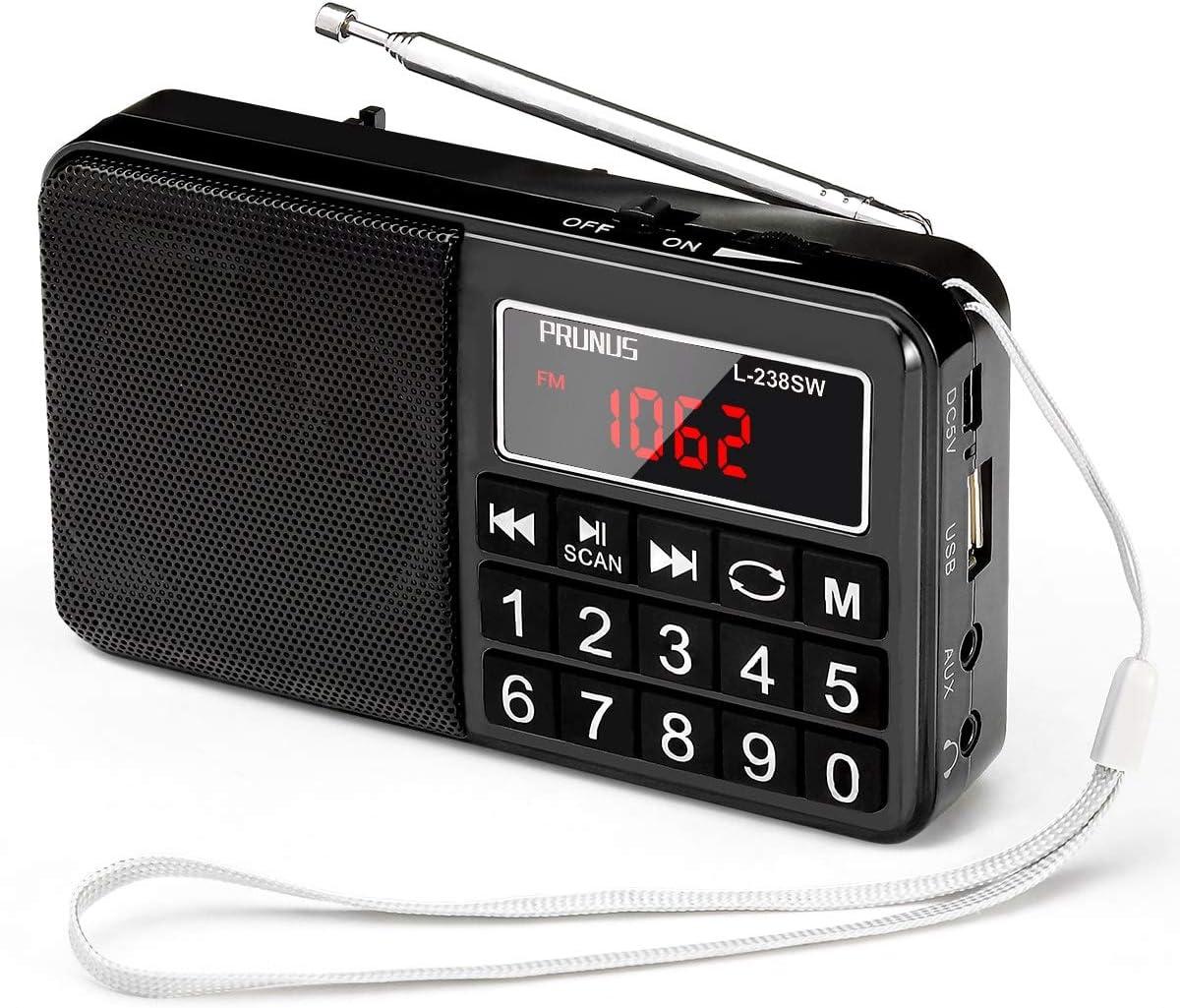 Mini Altavoz PRUNUS Radio L-238SW Reproductor MP3 SW Am(MW) FM con Puerto para Tarjeta TF Memoria USB (Ojo:No se Puede Fijar Las emisoras/No se Puede ...