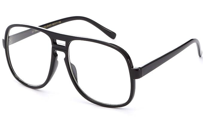 0278790319 New Non-Prescription Premium Aviator Clear Lens Glasses (Oversized Black