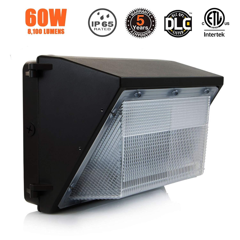 LED Wall Pack Light 60W– 8,100Lumens- Super Bright 135 Lumen to Watt - 5000K Day Light - Replaces HPS/HID 400-500W - 100,000 Hour LED Wall Light–Commercial Grade Wall Pack LED Wall Lighting-ETL & DLC