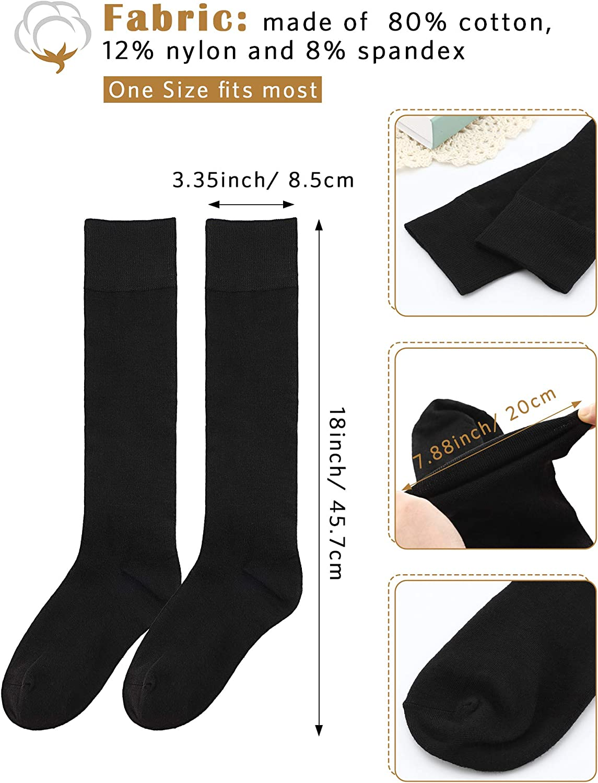 SATINIOR Chaussettes Hautes en Coton Casual Chaussettes Hautes en Tricot Chaussettes de D/émarrage pour Femmes