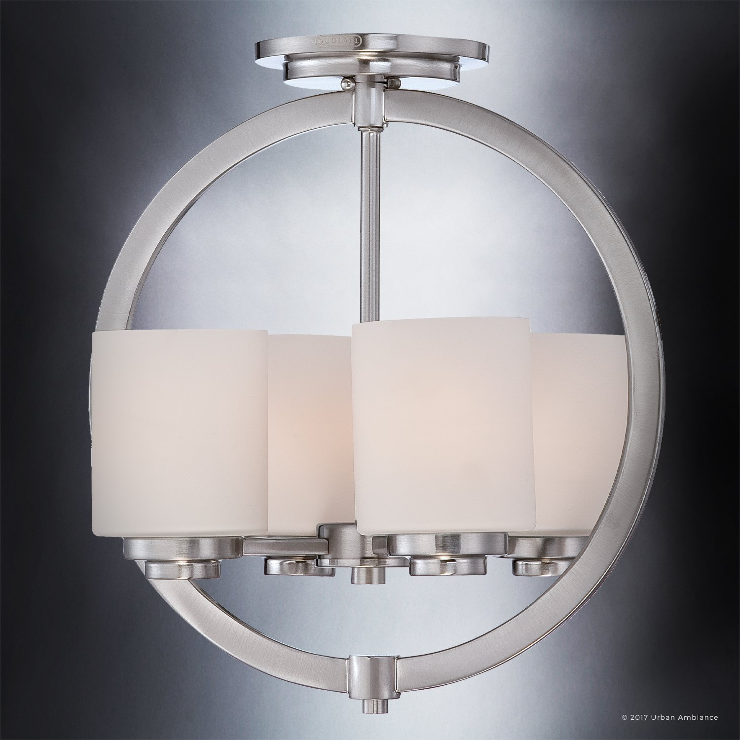 Luxury Contemporary Semi-Flush Ceiling Light, Medium Size: 15''H x 14''W, with Traditional Style Elements, Globe Design, Pretty Brushed Nickel Finish and Opal Etched Glass, UQL2171 by Urban Ambiance by Urban Ambiance (Image #3)