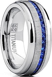 Bague de mariage en titane avec zircone cubique bleu.Pour Homme Intérieur Confort