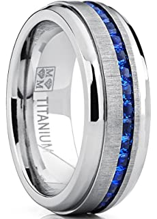 Menu0027s Eternity Titanium Wedding Band Engagement Ring W/ Blue Simulated  Sapphire Cubic Zirconia Princess CZ