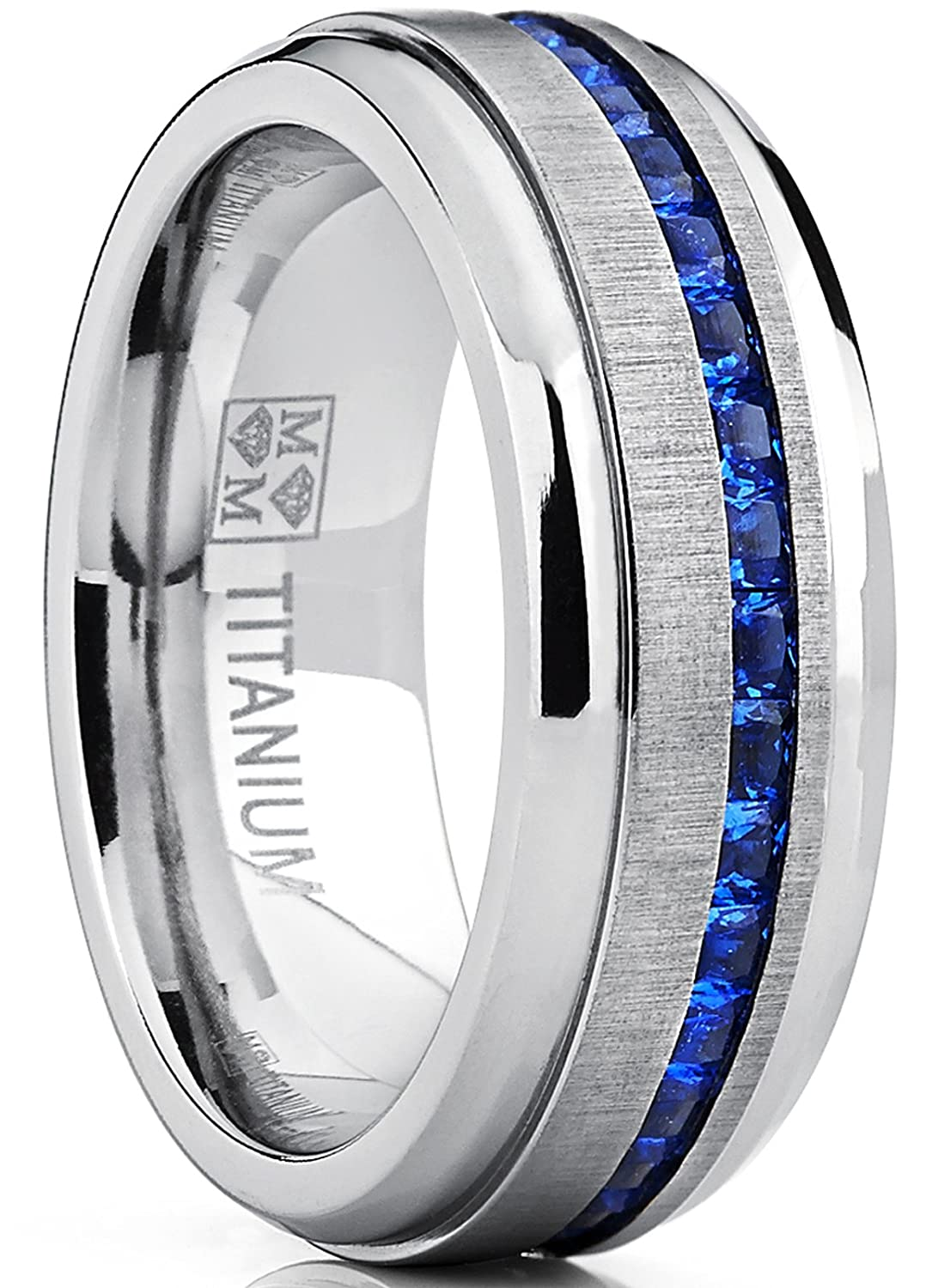 Metal Masters Co. Men's Eternity Titanium Wedding Band Engagement Ring W/Blue Simulated Sapphire Cubic Zirconia Princess CZ TIR-1243