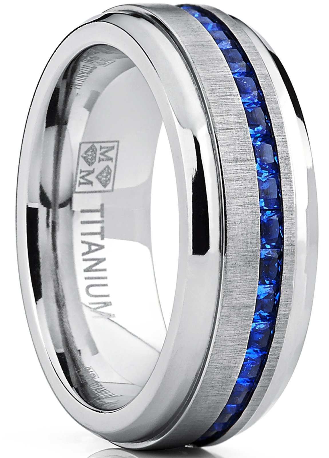 Metal Masters Co. Men's Titanium Wedding Band Engagement Ring W/Blue Simulated Sapphire Cubic Zirconia Princess CZ 10