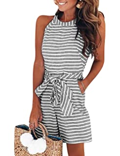 dbd78d3fba5 PARTY LADY Women s Casual Striped Sleeveless Waist Belted Zipper Back Wide  Leg Loose Jumpsuit Romper with