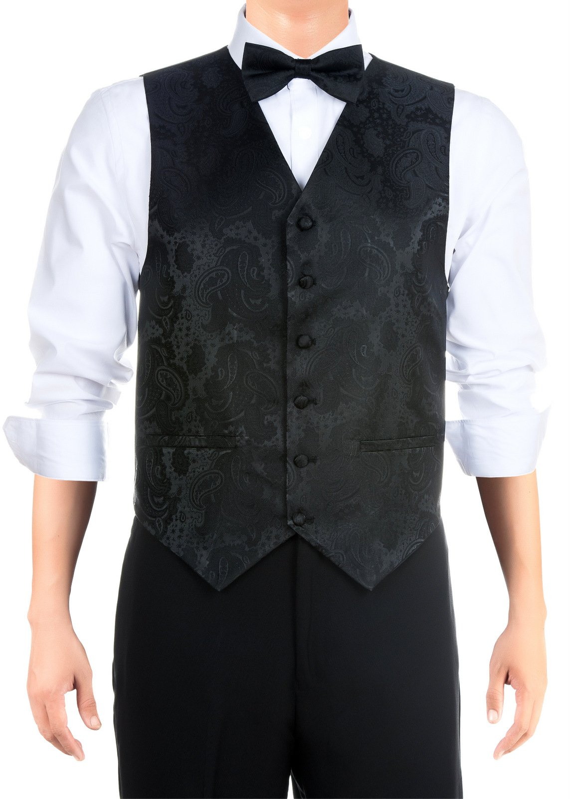 Retreez Men's Paisley Textured Woven Men's Suit Vest, Dress Vest Set with matching Tie and Pre-Tied Bow Tie, Gift Box Set as a Christmas Gift, Birthday Gift - Black, Extra Small