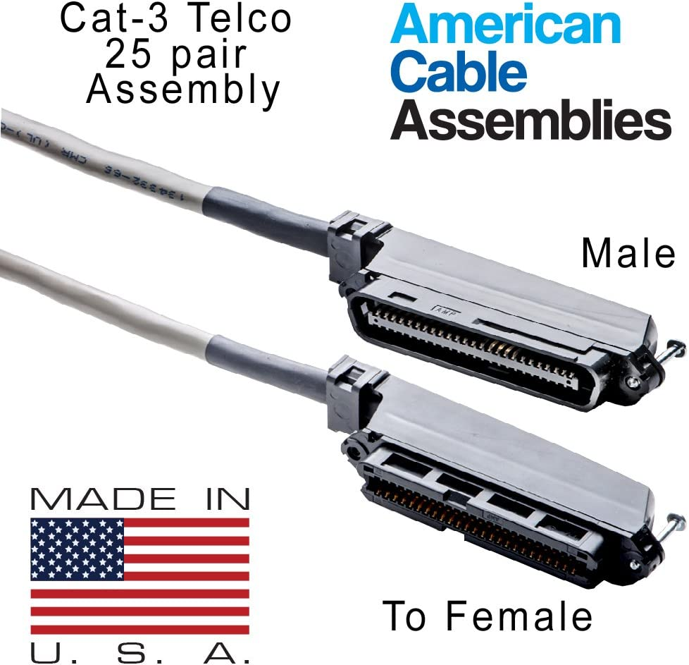 American Cable Assemblies 25 Pair Telco Cat 3 24AWG AMP Male to Female 50