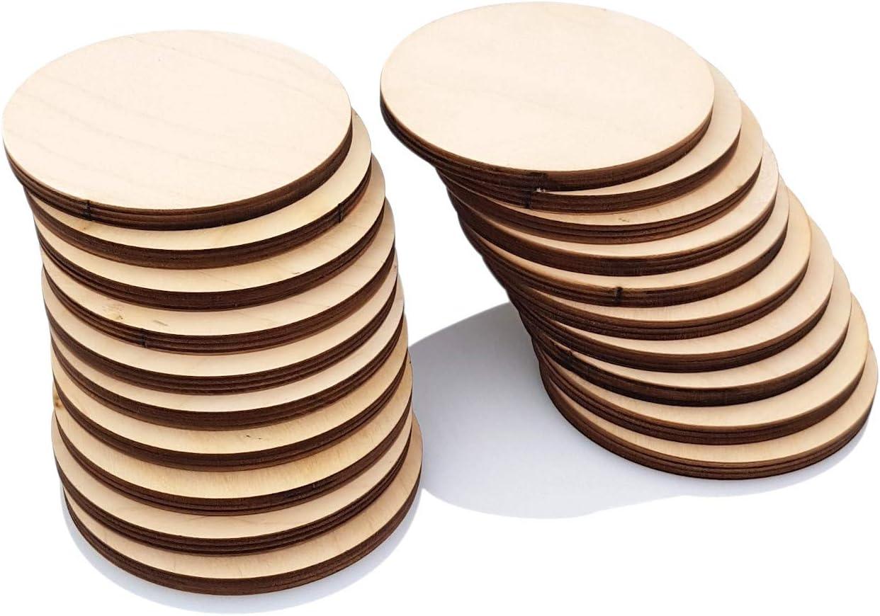Primolegno 20 tablas redondas de 9 cm | Formas circulares de madera en bruto para decoración de pirograbado, arte de modelismo, gruesas, resistentes y bonitas.