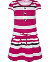 Girls Stripy Pocket Dress Kids Button Top Party Casual Stretchy