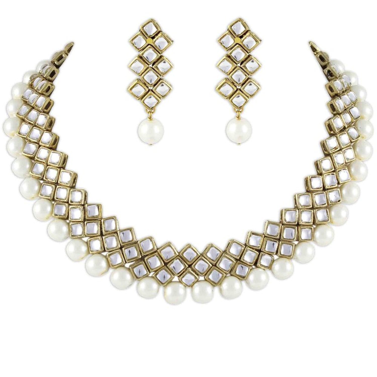 Shining Diva Latest Kundan Choker Traditional Necklace Jewellery Set for Women product image