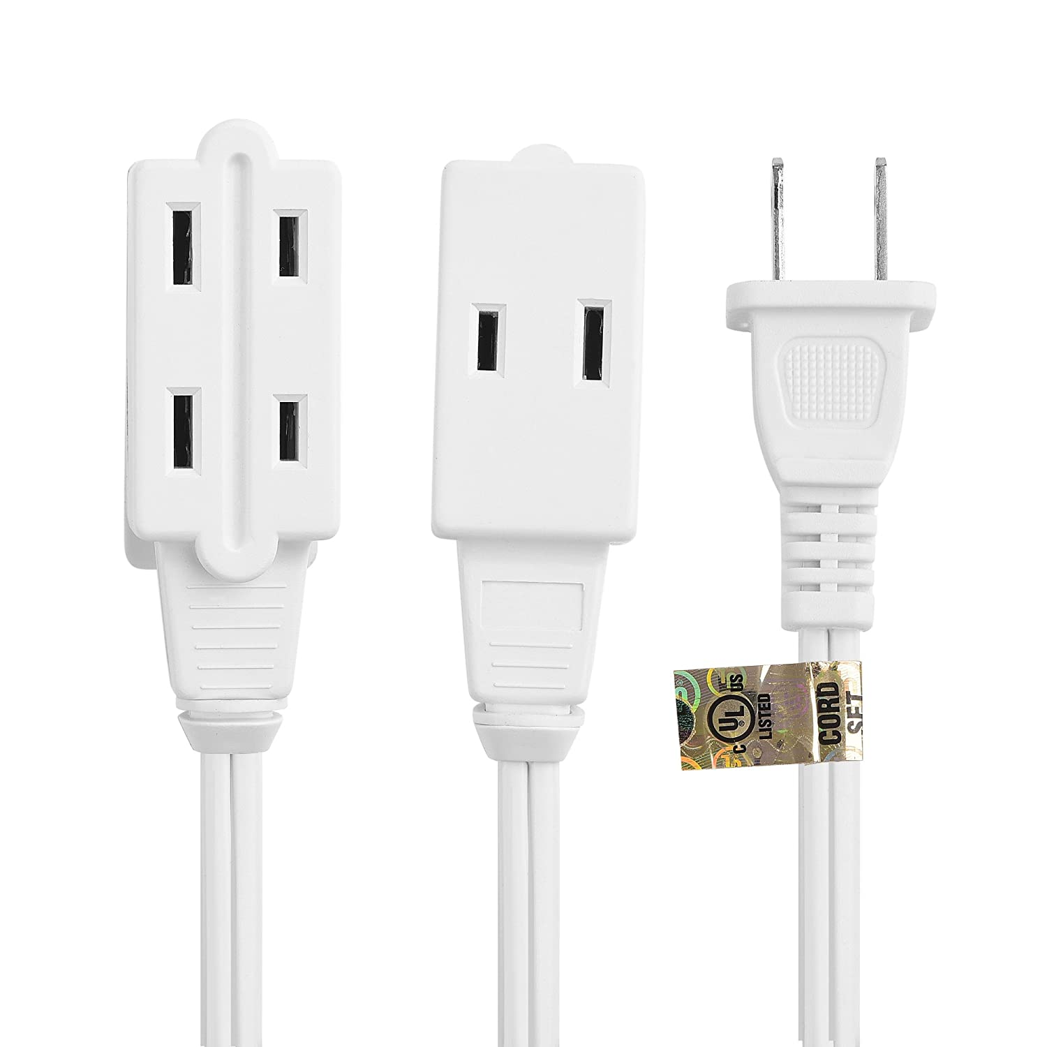 Cable Matters 16 Awg 2 Prong Extension Cord 3 Outlet Wiring Diagram With Tamper Guard White In 25 Feet Available 6ft 25ft Electronics