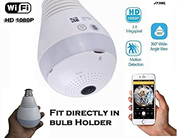 Jentron WiFi Spy Camera Hidden Camera Bulb LED Light 1080P HD Camera 360° Panoramic for Remote Home Security System,Motion Detection and Two Way Talking JT3WLAK Dome Cameras at amazon