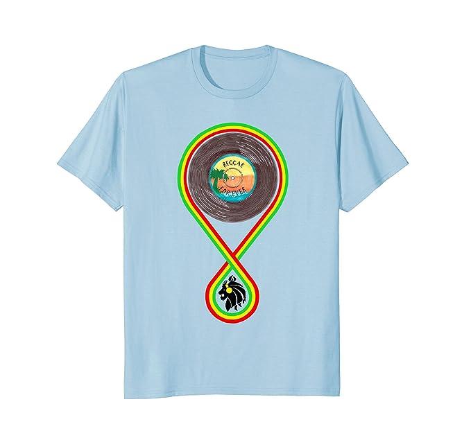 Mens REGGAE MUSIC - Rasta zion lion Jamaica dub record T-shirt 2XL Baby Blue 4474b303a92