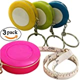 GoProver 3 pack Retractable Tape Measure Double-Scale 60-Inch/150cm Double Sided Pocket Soft Cloth Measuring Tape Weight Loss Medical Body Measurement Sewing Tailor Craft Vinyl Ruler With Keychain
