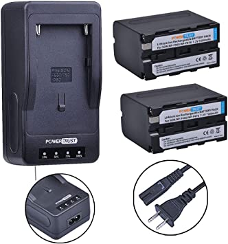 PowerTrust NP-F970//NP-F960 LED Ultra Fast Camcorder Battery Charger for Sony NP-QM91D,QM71D,TR516,TR716 NP-F960 F970 F750 F770 F550 F570 NP-FM50 FM55H Battery