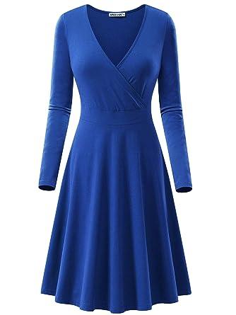 2b326b0db650 MSBASIC Womens Long Sleeve Wrap V Neck A Line Casual Midi Dress with ...